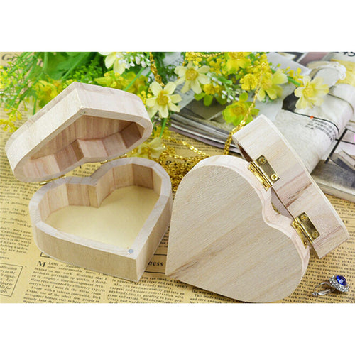 Heart Shape Wood Box Jewelry Box Wedding Gift Makeup Storage Bin Earrings Ring Organizer