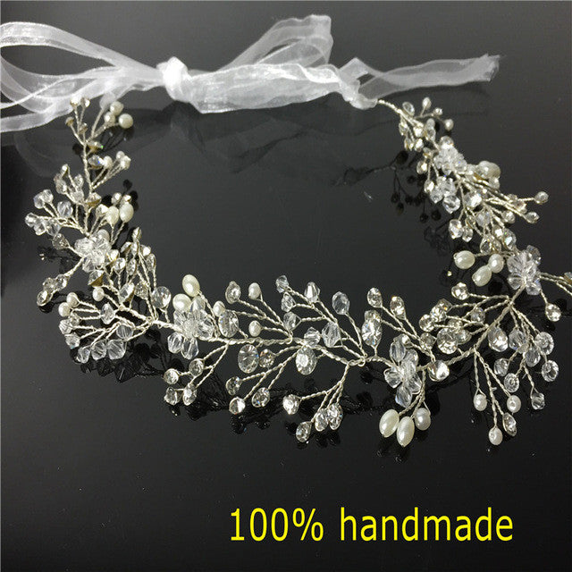 Crystal Bridal Ribbon Headband Wedding Hair Accessories (1pcs)