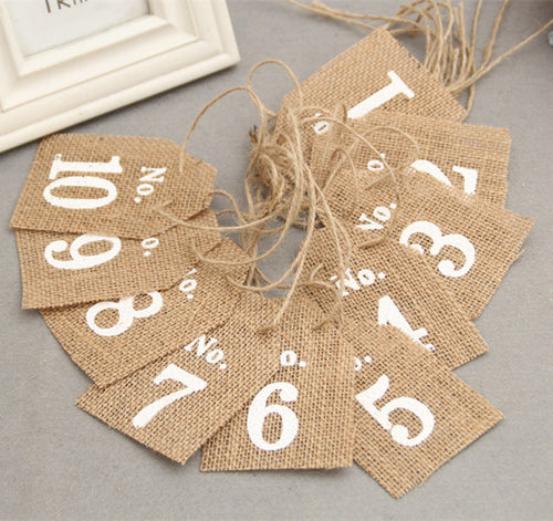 Pack of 10 Burlap Flags Table Numbers Vintage Rustic Wedding Decoration