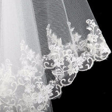 White/Ivory Tulle Veil 1.5m Long Lace Edge (1pcs)
