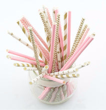 Pink Gold Striped mixed kids birthday wedding decorative party decoration event supplies drinking Paper Straws (25pcs)