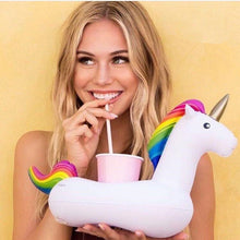 Mini Unicorn Inflatable Cup Holder Drink Float Water toys Supplies Party Beverage Boats Phone Stand Holder Pool Toys (1pcs)