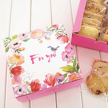 "12*12*4.5cm ""For you"" Pink bird spring design Cake Box Cookie Container gift Packaging Wedding (10pcs)"
