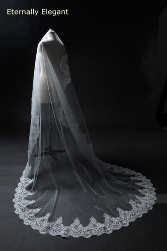 3M White/Ivory Cathedral Length Lace Mantilla Crochet Bridal Veil Headdress With Comb Wedding Accessories