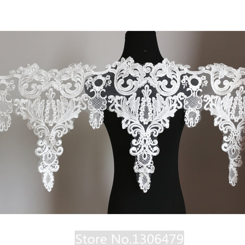 2M/Lot Embroidered lace fabric  Hand diy wedding dress Veil decoration Embroidery lace fabric