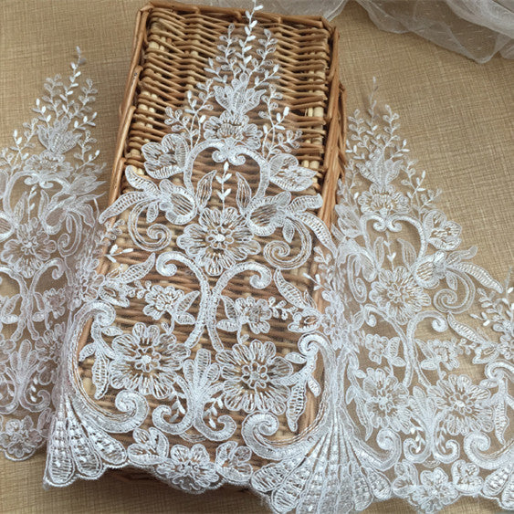 ivory wedding decoration French lace Wedding veil with car embroidery lace trim DIY accessories accessories  3yards/lot RS451