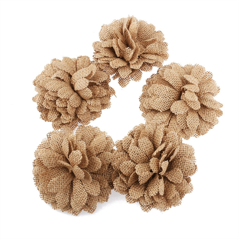 5pcs Hessian Burlap Daisy Flowers for Christmas Wedding Decoration