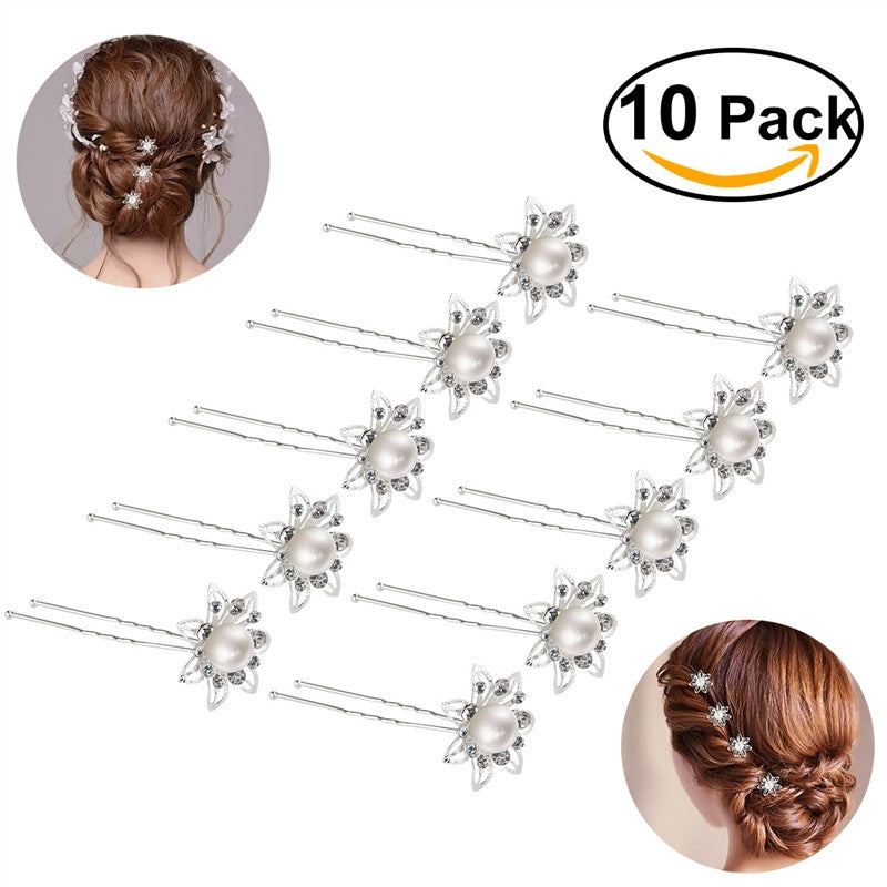 ROSENICE 10pcs Pearl Flower Rhinestone Crystal U-Shaped Clips Barrette for Wedding Bridal