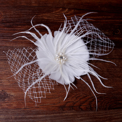 2017 Beauty White Feather Imitation Pearl Hair Accessories