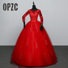 Red And  White Three Quarter Sleeve 2018 Korean Style Ball Gown Fashion Lace Wedding Dress Elegant Princess GZ