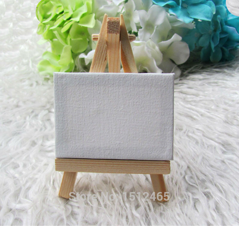 Mini Display Easel with Canvas 5*7cm for DIY Table Numbers Painting (24 sets)