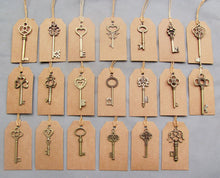 Mixed Antique Bronze Vintage Keys Craft Tags Charm Wedding Souvenirs Tags