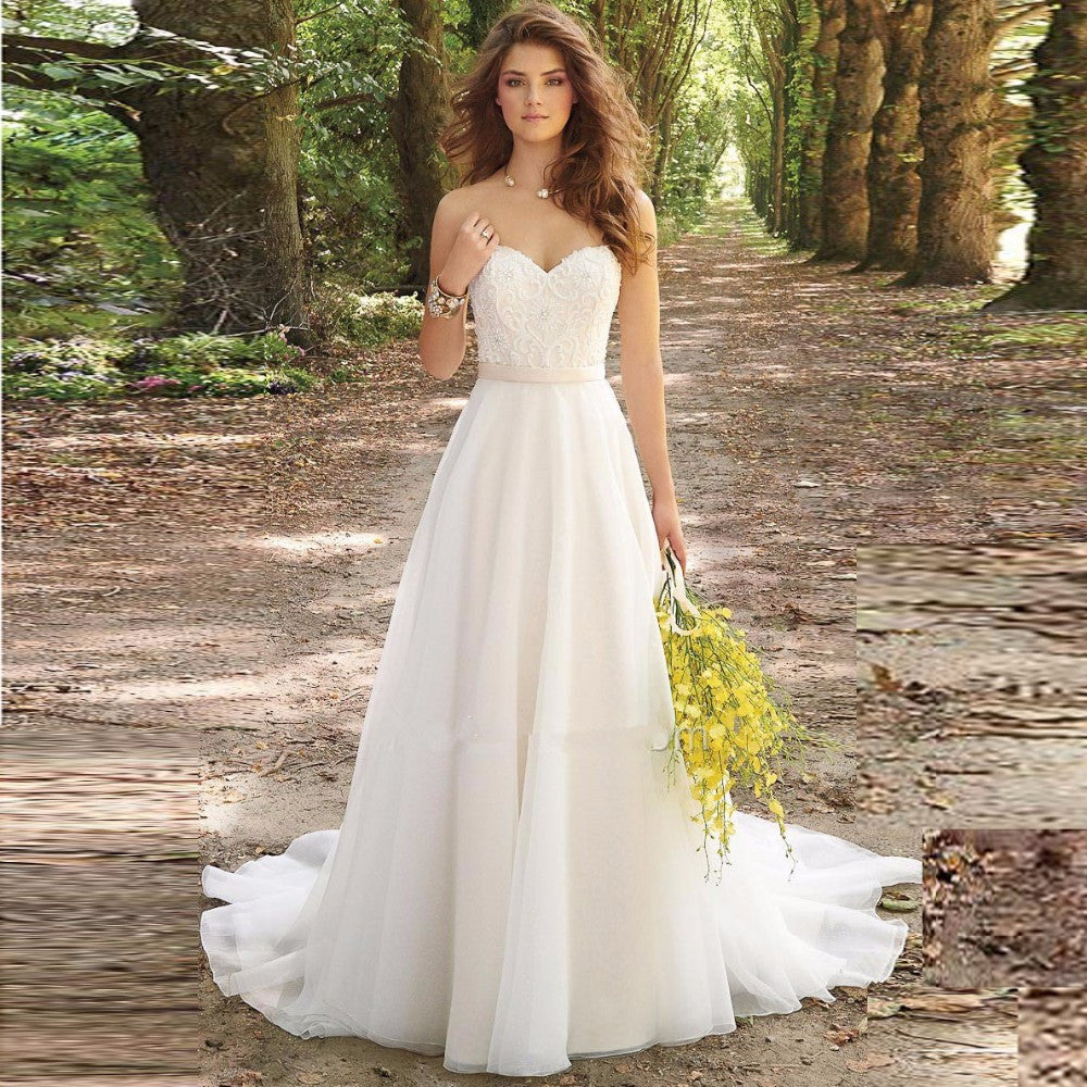 White/Ivory Chiffon Embroidery Sweetheart A-Line Wedding Dress