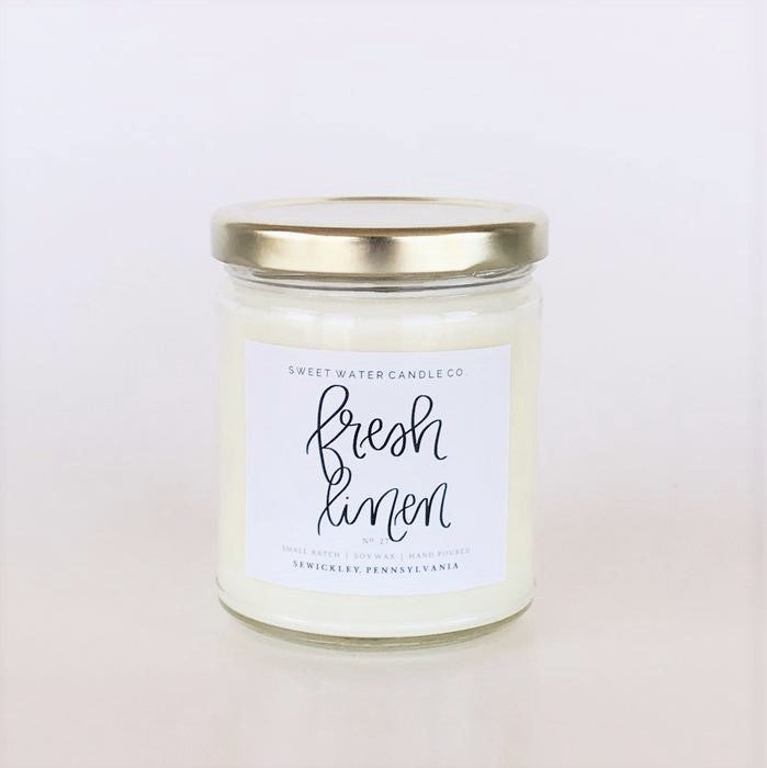 Fresh Linen Soy Candle (white jar) 9oz LIMITED EDITION