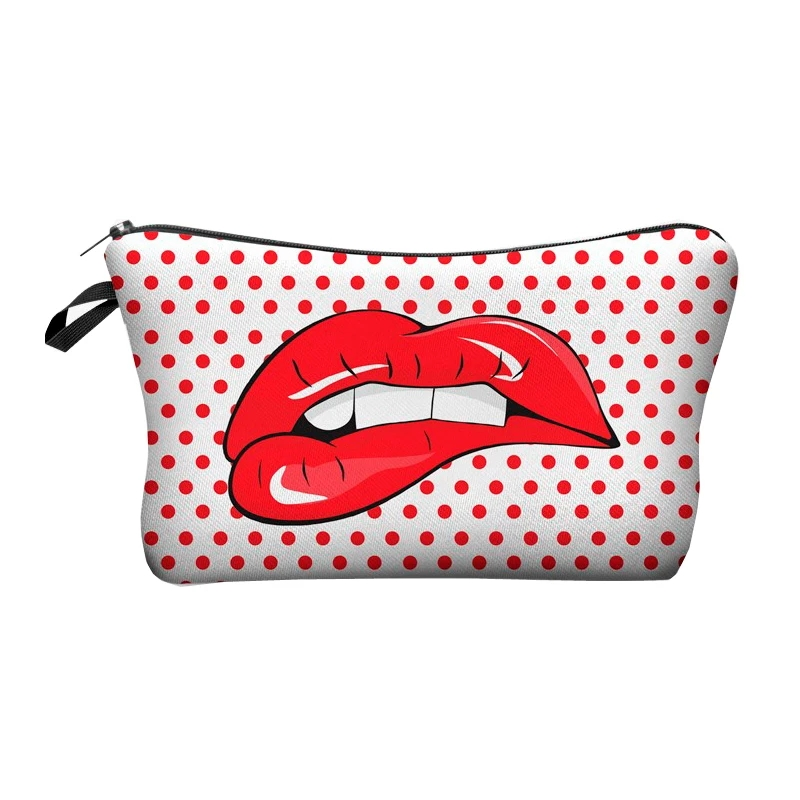 Red Lip and Polkadots Makeup Bag