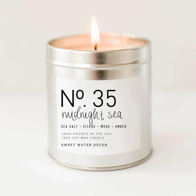 Midnight Sea Soy Candle (silver tin) 9oz