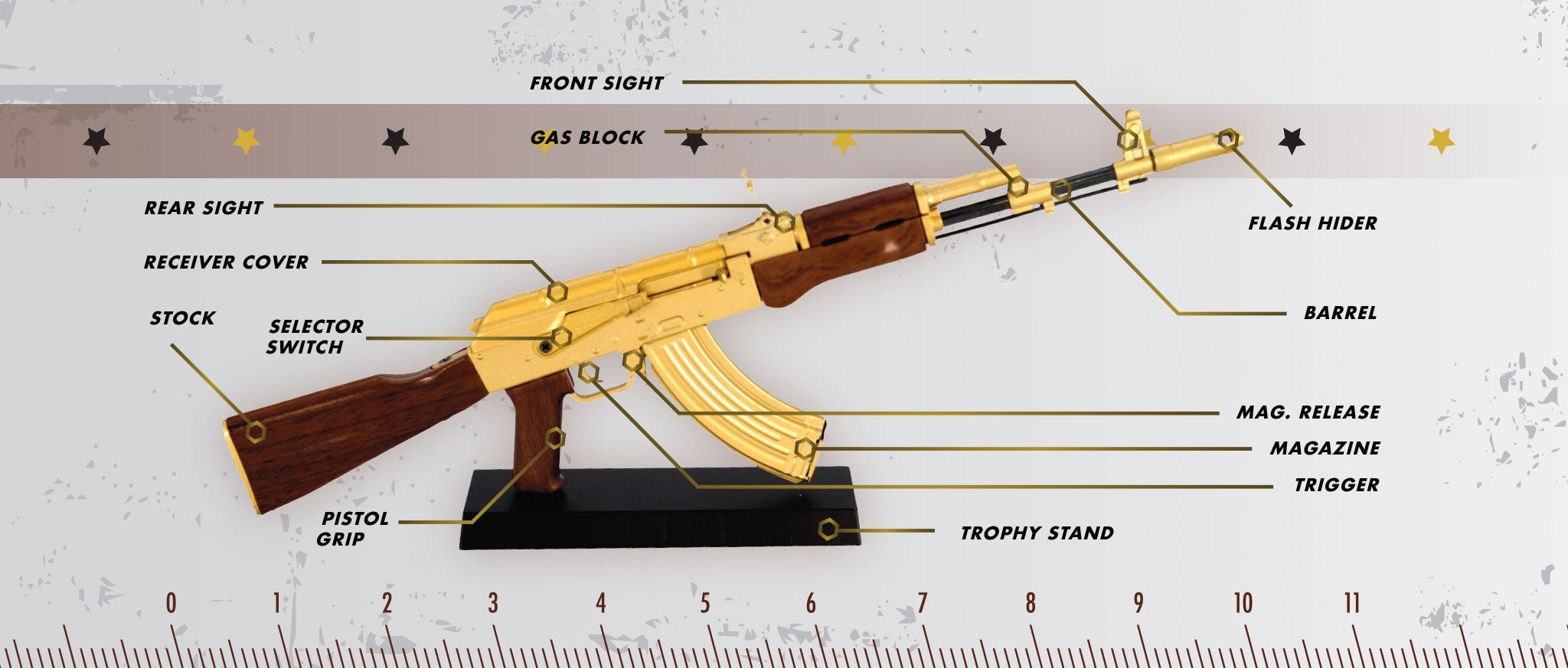 Gold AK47 rifle parts