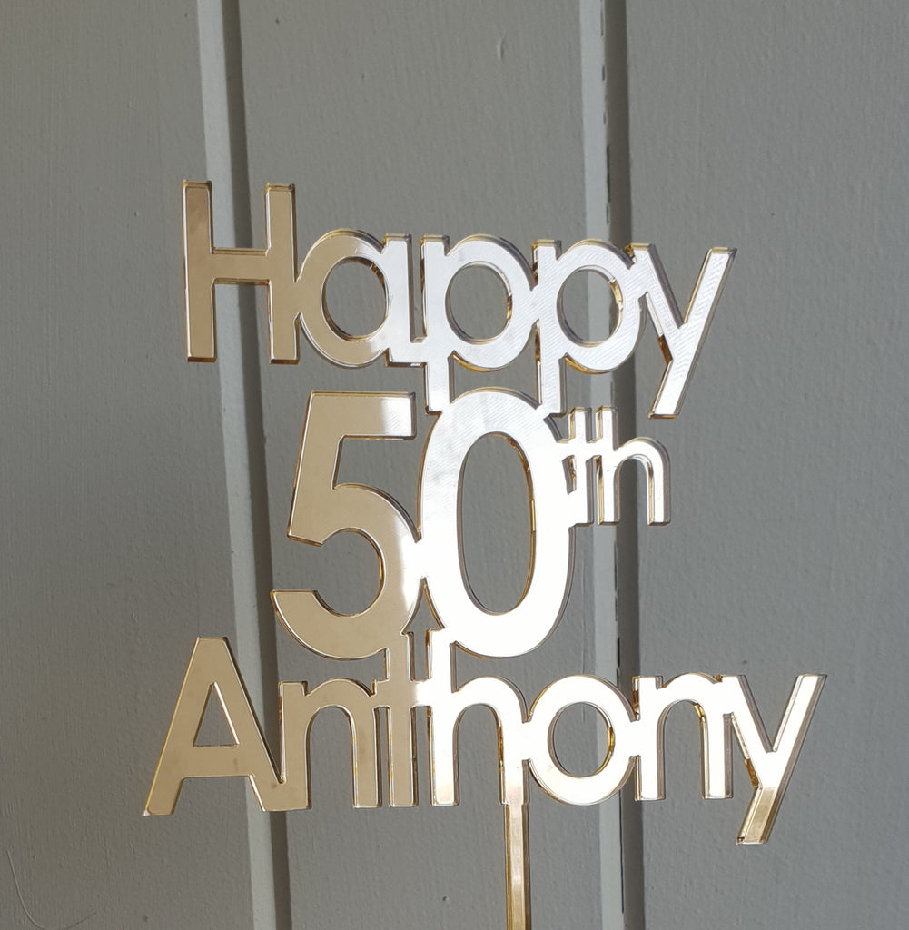 Fabulous Bold 50Th Birthday Cake Topper Bliss Co Designs Personalised Birthday Cards Veneteletsinfo