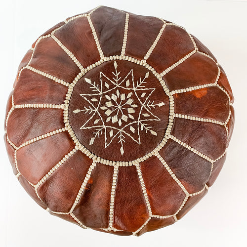 Round Moroccan Leather Pouf in