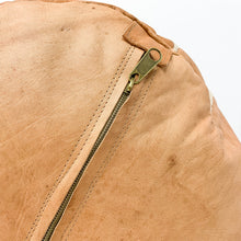 "Round Moroccan Leather Pouf in ""Tan"""