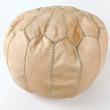 "Round Moroccan Leather Pouf in ""Natural"""