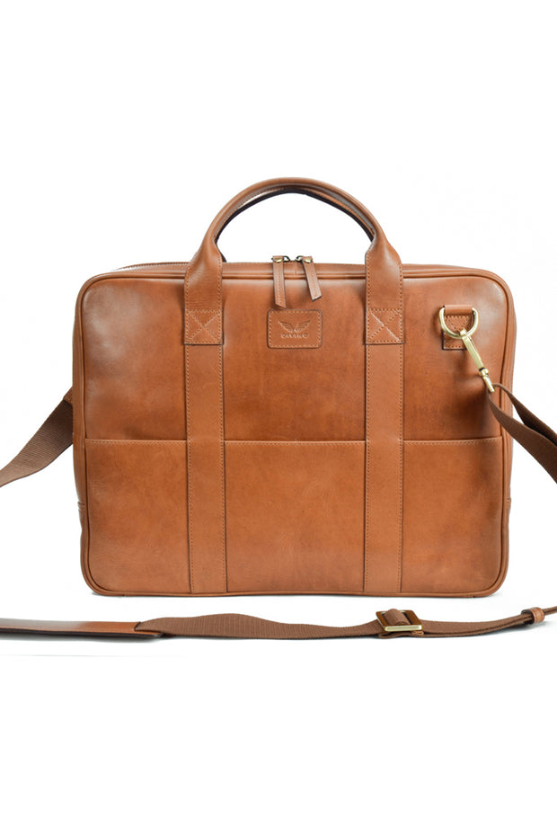 Spencer - Leather Laptop Bag - Tan - Divino Leather Goods