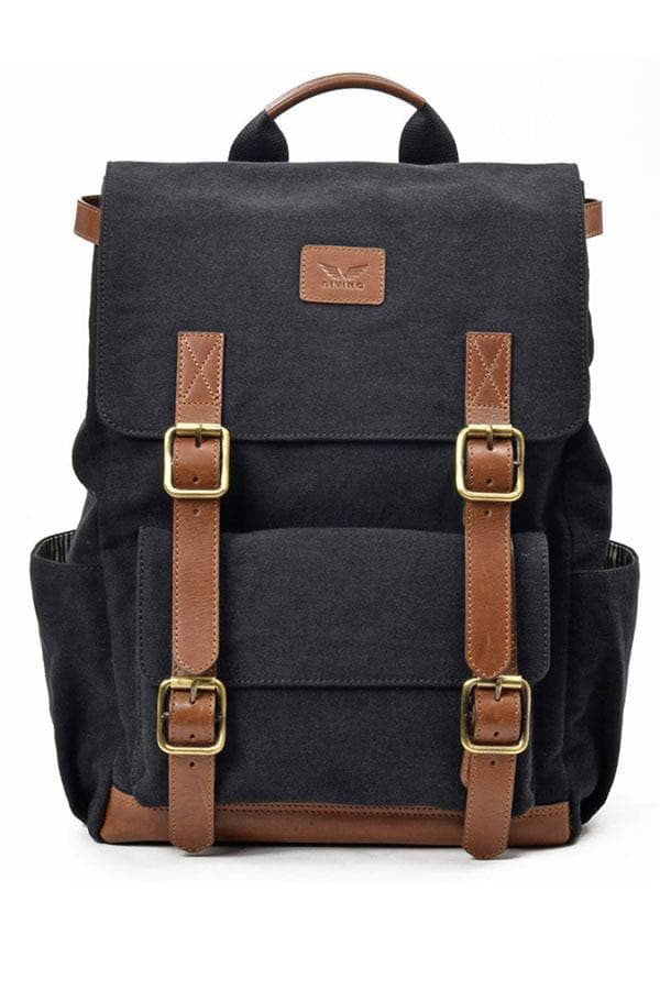 Maverick - Canvas/Leather Backpack - Black - Divino Leather Goods