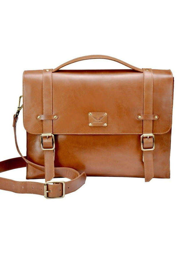 Hank - Leather Satchel - Tan - Divino Leather Goods