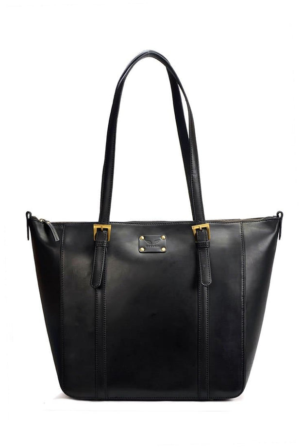 Jessica - Leather Tote Bag - Black - Divino Leather Goods