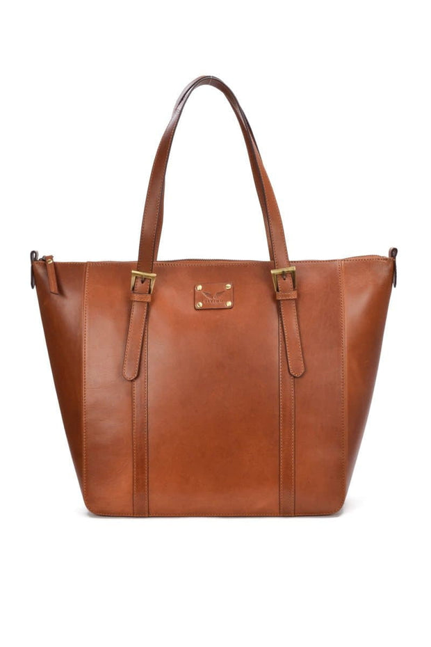 Jessica - Leather Tote  Bag - Tan - Divino Leather Goods
