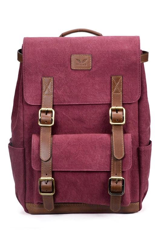Maverick - Canvas/Leather Backpack - Plum - Divino Leather Goods