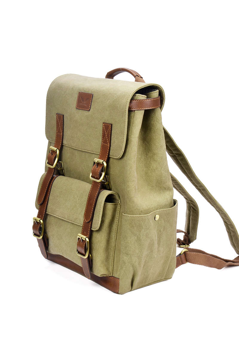 Maverick - Canvas/Leather Backpack - Olive - Divino Leather Goods