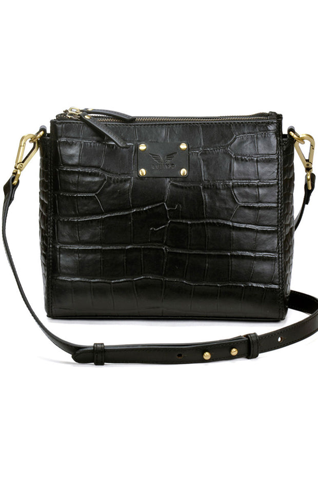 Ada - Leather Sling Bag - Black Croco - Divino Leather Goods