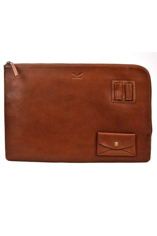 "Oxford - Leather Laptop Sleeve 13"" - Saddle Tan - Divino Leather Goods"