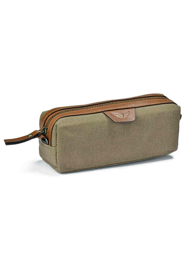 Pencil Case II - Canvas/Leather - Olive - Divino Leather Goods