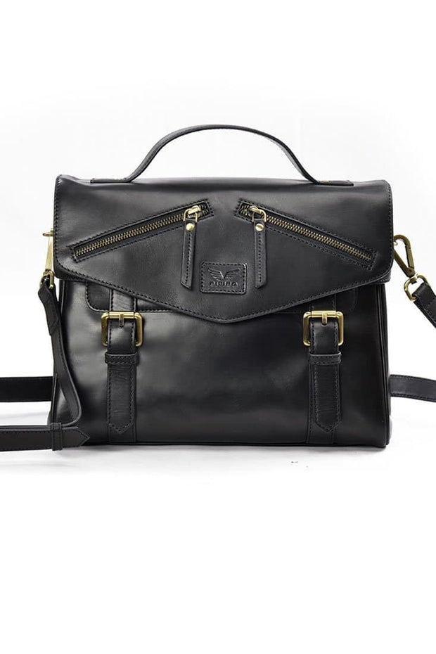 Rachel - Leather Satchel - Midnight Black - Divino Leather Goods