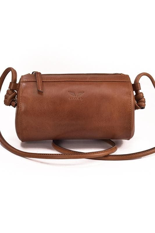 Cylinder - Leather Sling Bag  - Tan - Divino Leather Goods