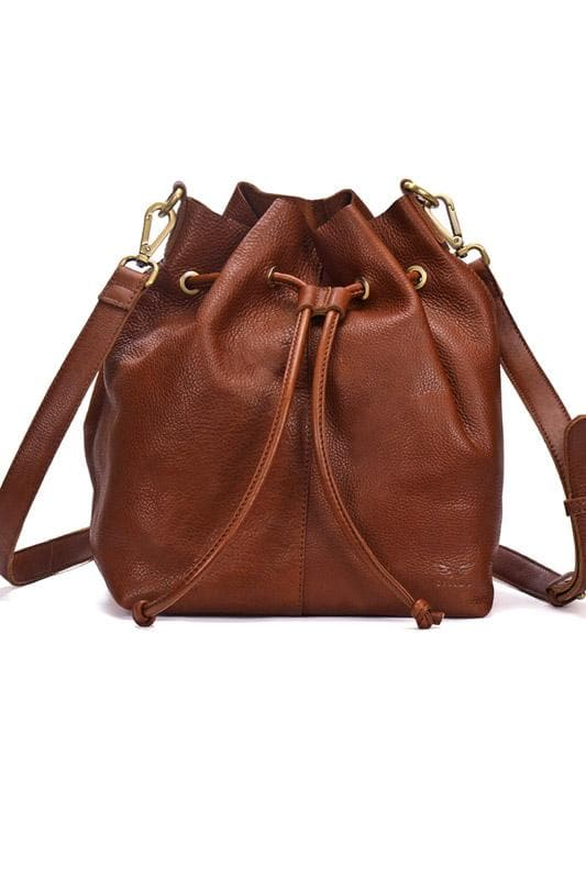 Andrea - Leather Bucket Bag - Saddle Tan - Divino Leather Goods