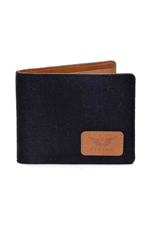 Ethan - Leather/Canvas Wallet - Black/Tan - Divino Leather Goods