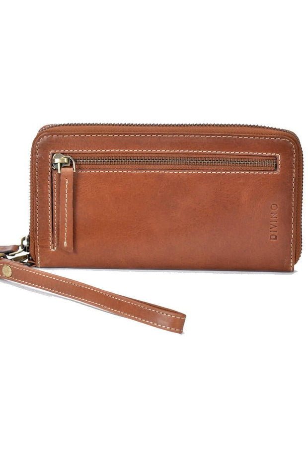 Mila - Leather Zipper Wallet - Tan - Divino Leather Goods