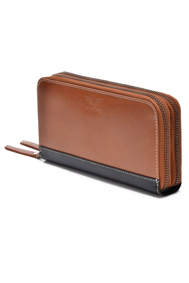 Grace - Leather Zipper Wallet - Tan - Divino Leather Goods
