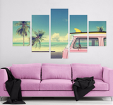 5 Pieces Pink Car Nomadic Surfer Canvas - Urban Street Canvas