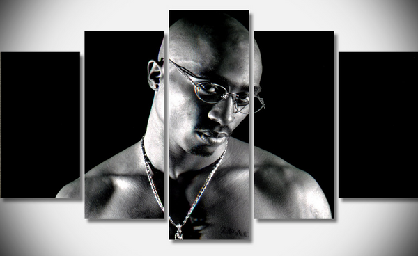 2Pac Rapper 5 Panel Framed Ready to Hang Canvas - Urban Street Canvas