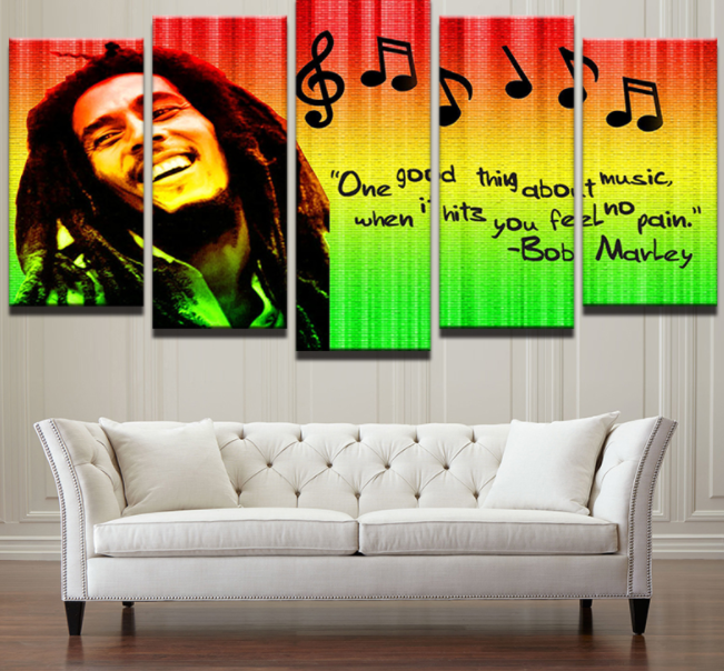 5 Panel Music Legend Bob Marley Canvas - Urban Street Canvas