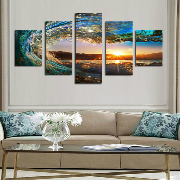 5 Piece Sea Wave Painting large Canvas - Urban Street Canvas