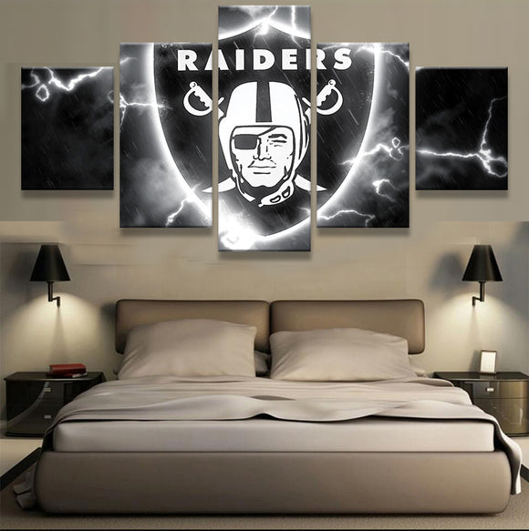 5 Pcs Oakland Raiders Logo Canvas Print - Urban Street Canvas