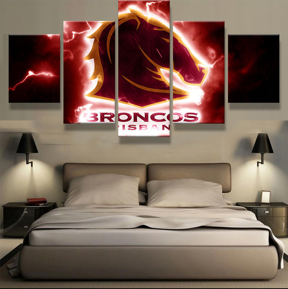 5 Pcs On Canvas Brisbane Broncos - Urban Street Canvas