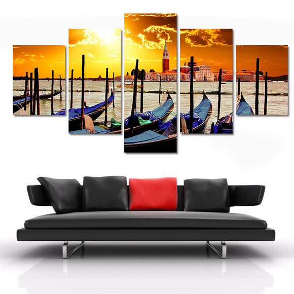 5 pieces Seaside Fishing Boats Canvas - Urban Street Canvas