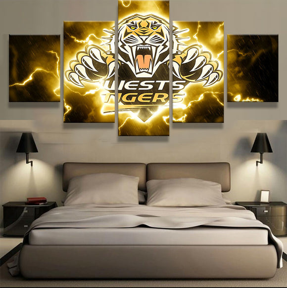 5 Pieces Wests Tigers Sports Team Canvas - Urban Street Canvas