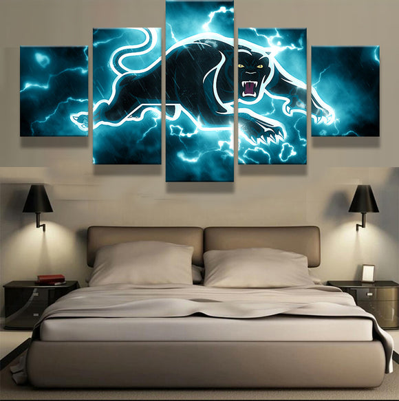 5 Panel Panthers Canvas Art HD - Urban Street Canvas